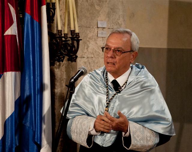 El Historiador y Maestro Mayor del Colegio Universitario San Gerónimo, Dr. Eusebio Leal,  evocó cómo trabajaron para conformar esta carrera. / Foto Alexis Rodríguez