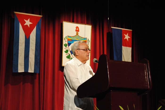 El Doctor Eusebio Leal Spengler, Director de la Red de Oficinas del Historiador y del Conservador de la Isla, agradeció profundamente la ocasión de encontrarse en un lugar lleno de historia / Foto Alexis Rodríguez